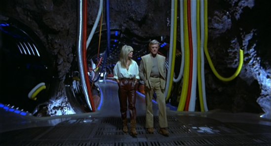 Alex and Adam stroll through the corridors of Saturn 3 (screen cap courtesy Craig Spivey).