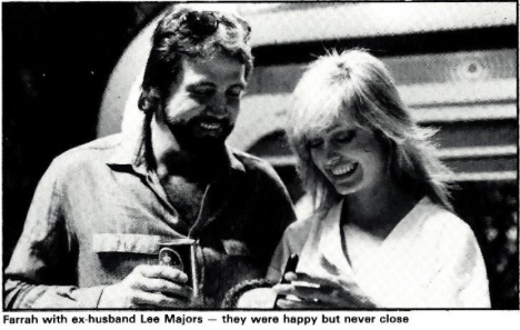 Farrah's estranged husband Lee Majors visits her on the set during production.