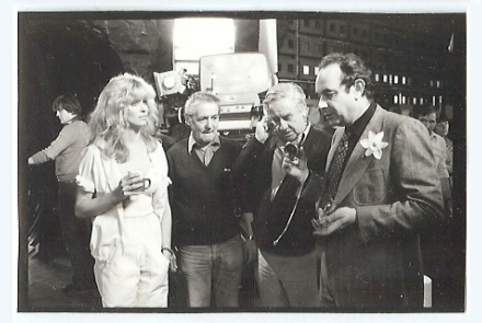 Stanley Donen confers with camera operator David Harcourt while Farrah looks on. (still courtesy Keith Hamshere)