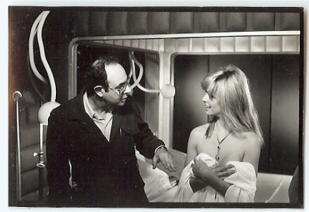 Director Stanley Donen directs Farrah during the scene where Kirk attempts to control his thoughts. (photo courtesy Keith Hamshere)